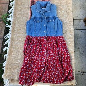 90s vintage denim and floral dress